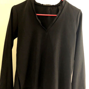 Zara Basic Collect. V-Neck Hi Low Black Top Blouse